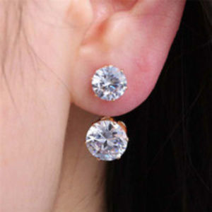 Crystal Gold Double Sided Earrings
